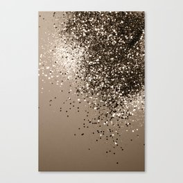 Sparkling Sepia Lady Glitter #1 #shiny #decor #art #society6 Canvas Print