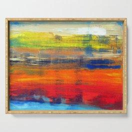 Horizon Blue Orange Red Abstract Art Serving Tray