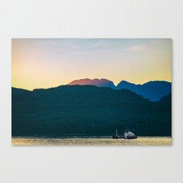 Alaska wildlife sunset landscape Canvas Print