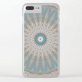 Textured Neutral Boho Mandala Clear iPhone Case