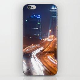Traffic trails on the bridge iPhone Skin