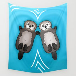 Otters Holding Hands - Otter Couple Wall Tapestry