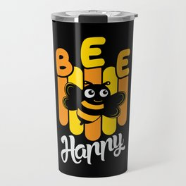 Bee Cheerful Cute Yellow Shirt Design Travel Mug