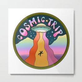 Cosmic Trip Alien Retro 70s Metal Print