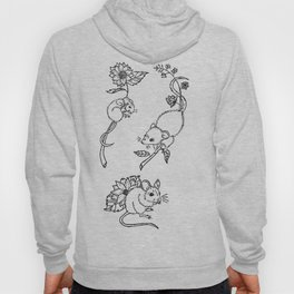 Three Mice with Sunflowers Illustration Hoody