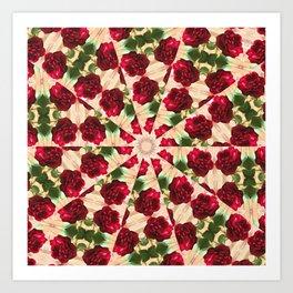 Old Red Rose Kaleidoscope 11 Art Print
