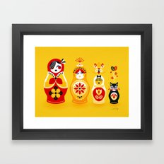 Russian Nesting Dolls – Yellow & Red Framed Art Print