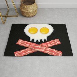 Skull With Crossed Bacon  Skull Bacon Eggs Rug