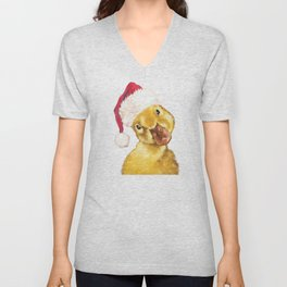 Christmas yellow duckling Unisex V-Neck