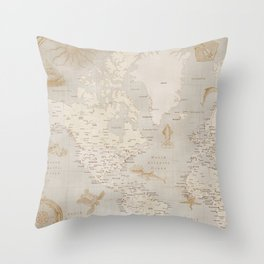 Vintage looking current world map with sea monsters and sail ships Throw Pillow