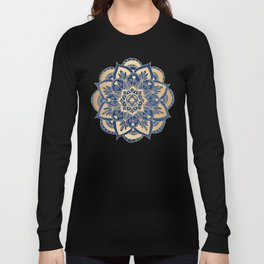 Blue and Gold Flower Mandala Long Sleeve T-shirt