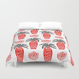 Red Palm Tree Duvet Cover