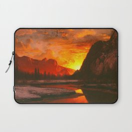 Classical Masterpiece 'Sunset in the Yosemite Valley' by Albert Bierstadt Laptop Sleeve