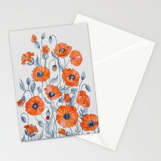 Poppies botanical art Stationery Cards