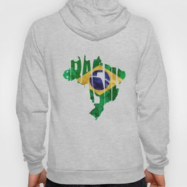 Brasil Typographic World Map / Brasil Typography Flag Map Art Hoody