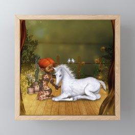 Little fairy with unicorn foal Framed Mini Art Print