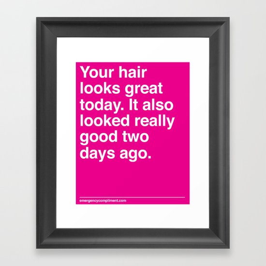 Your Hair Framed Art Print