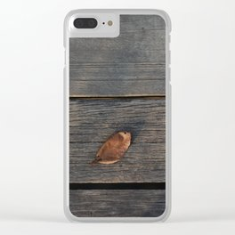 Dry leaf on a piece of wood Clear iPhone Case