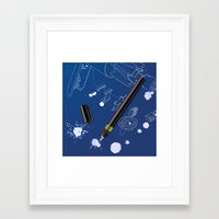 blueprint Framed Art Prints featuring blueprint by anil yanik