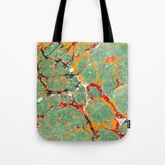 Marbled Green Orange Tote Bag