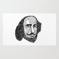 shakespeare Area & Throw Rugs featuring William Shakespeare by Feld Sprucetree