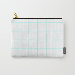 Graph Paper (Turquoise & White Pattern) Carry-All Pouch