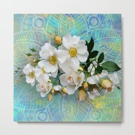 White Blooms and Yellow Roses Metal Print