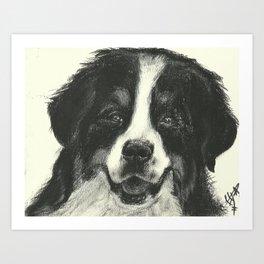 B&W dog Art Print