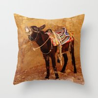 donkey Throw Pillows featuring Donkey by Noelle Abbott