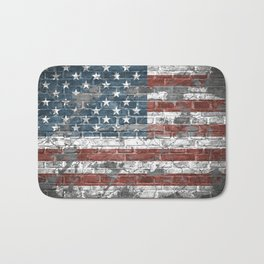 american flag on the brick Bath Mat