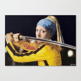 "Vermeer's ""Girl with a Pearl Earring"" & Kill Bill Canvas Print"