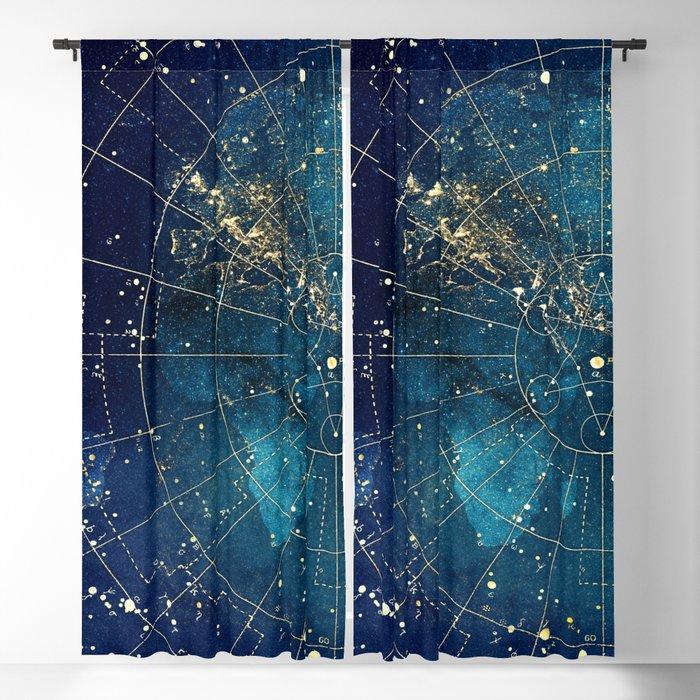 Star Map City Lights Blackout Curtain By Jennylloyd Society6