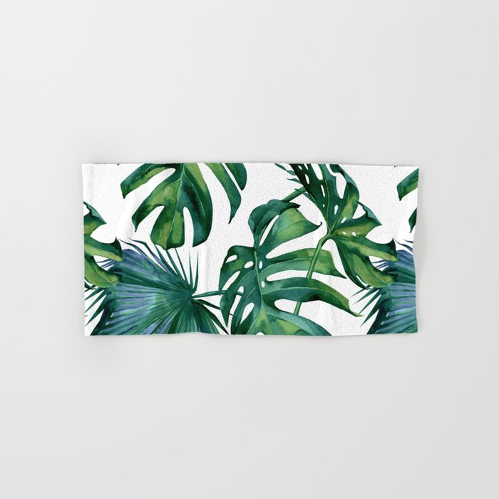 Classic Palm Leaves Tropical Jungle Green Hand Bath Towel By Followmeinstead Society6