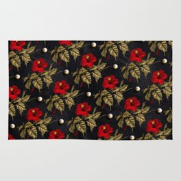 Red and Gold Hibiscus with Pearls Pattern Rug
