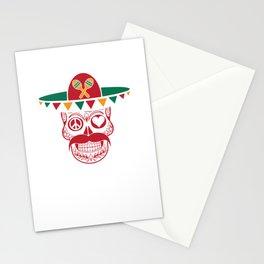 Peace Love Sugar Skull Funny Cinco De Mayo Mexican Humor Design Stationery Cards