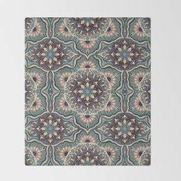 Colorful abstract ethnic floral mandala pattern design Throw Blanket