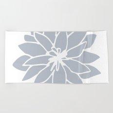 Flower Bluebell Blue on White Beach Towel