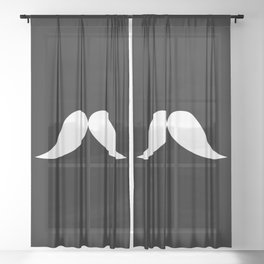 Funny Mustache Sheer Curtain