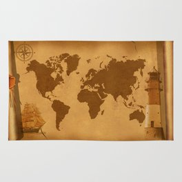 World Map nostalgic Rug