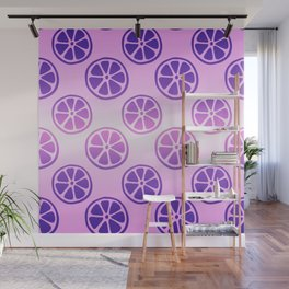 Tropical exotic moody purple grapefruit citrus slices decorative summer fruity pale baby pink whimsical cute pattern design. Wall Mural