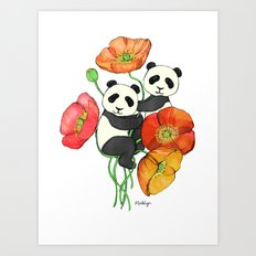 Poppies & Pandas Art Print