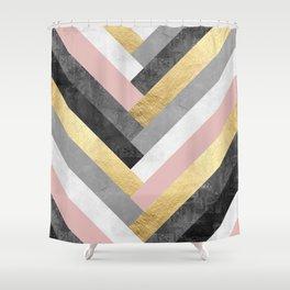 Golden bands V Shower Curtain