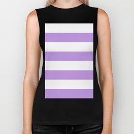 Wide Horizontal Stripes - White and Light Violet Biker Tank