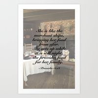 At the Hearth (with scripture) Art Print