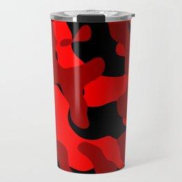 Black and Red Camo abstract Travel Mug