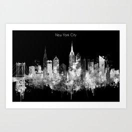 New York City Inverted Watercolor Skyline Art Print