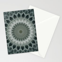 Silver geometric mandala Stationery Cards