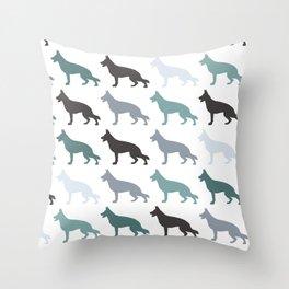 german sheppard | pattern blue Throw Pillow