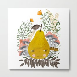 Winter pear with flowers and mushrooms watercolor illustration Metal Print