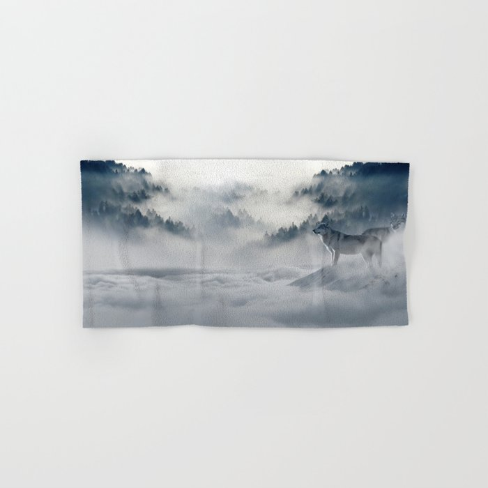 Wolves Among the Snowcapped Mountain Hand & Bath Towel